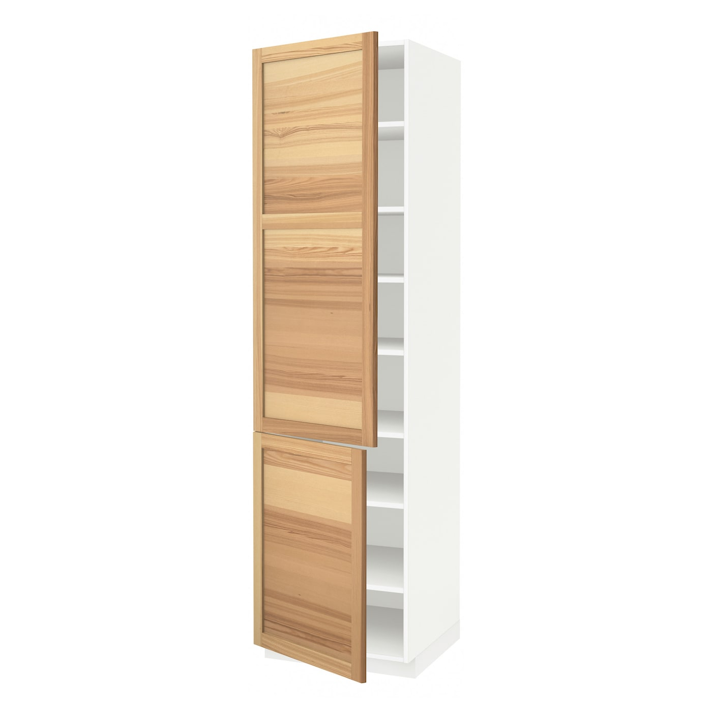 Metod high cabinet with shelves 2 doors white torhamn ash for Kitchen cabinets 700mm high