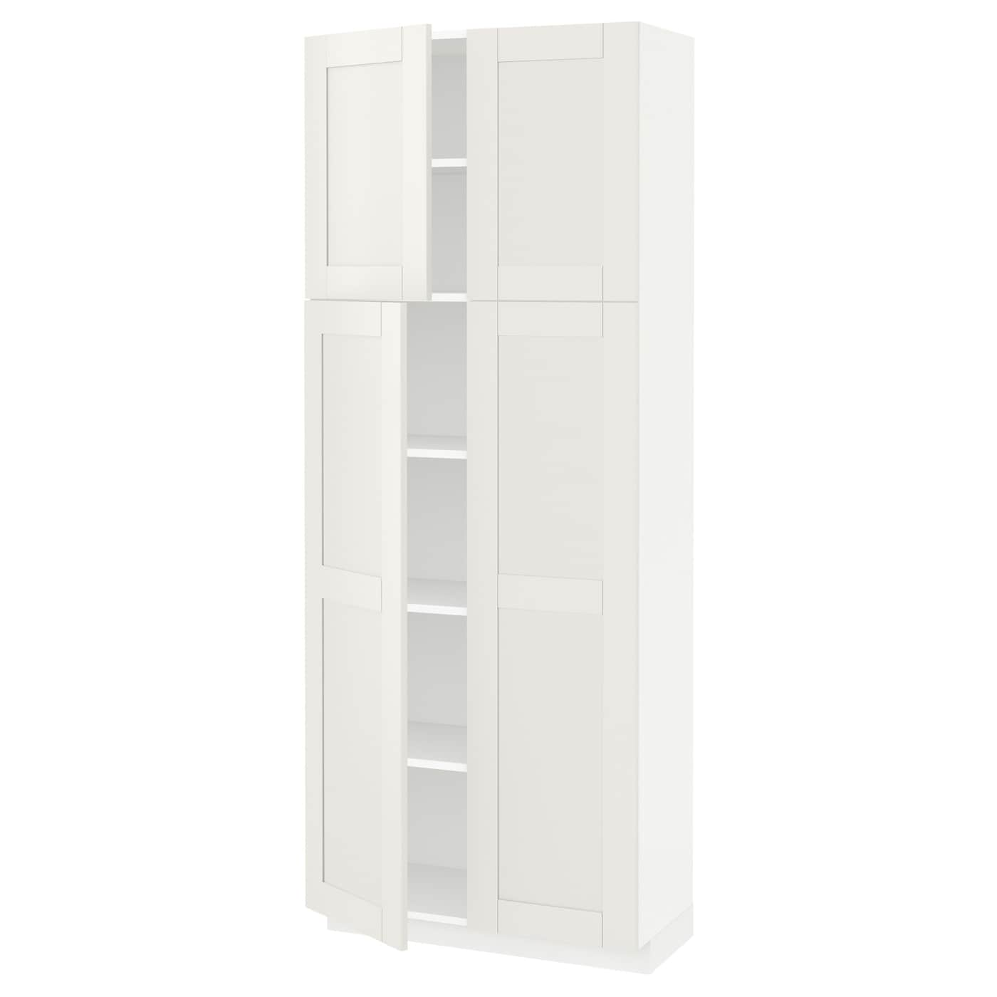 IKEA METOD high cabinet with shelves/4 doors Sturdy frame construction, 18 mm thick.