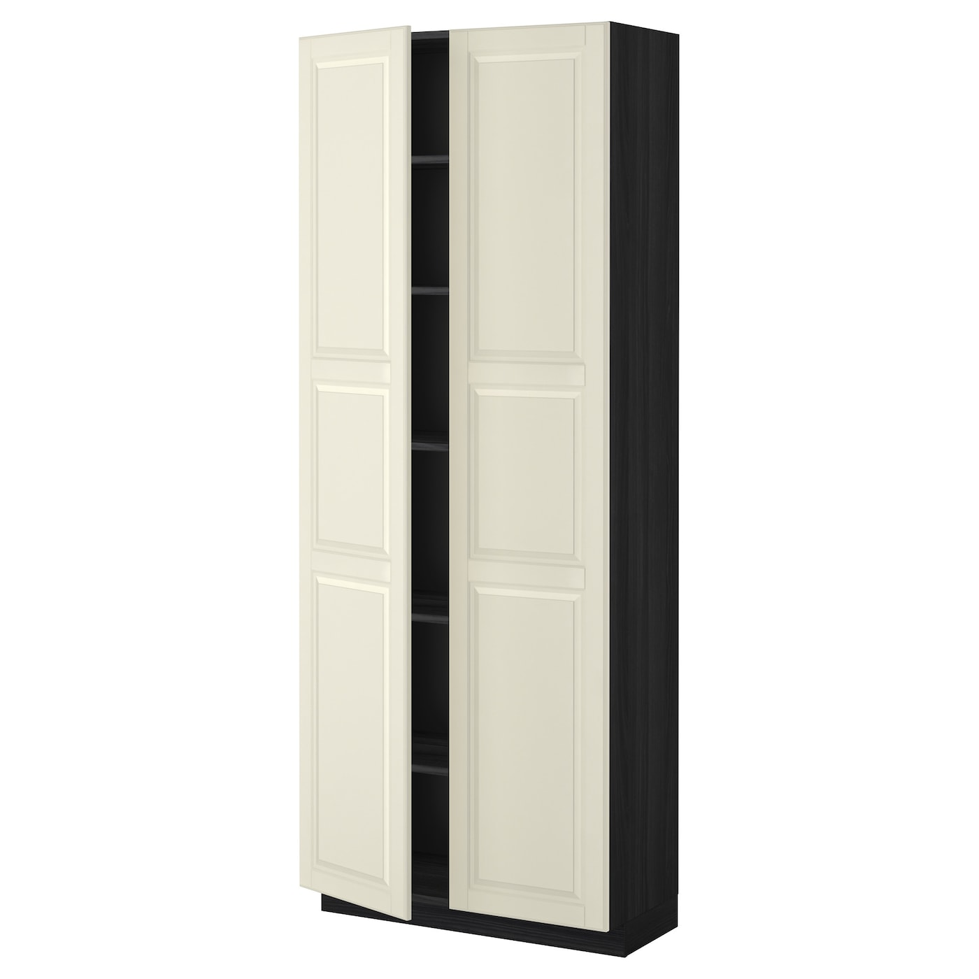 Metod high cabinet with shelves black bodbyn off white for Off the shelf kitchen units