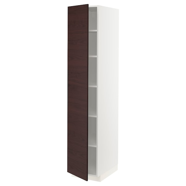 METOD High cabinet with shelves, white Askersund/dark brown ash effect, 40x60x200 cm