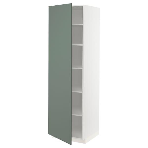METOD High cabinet with shelves, white/Bodarp grey-green, 60x60x200 cm