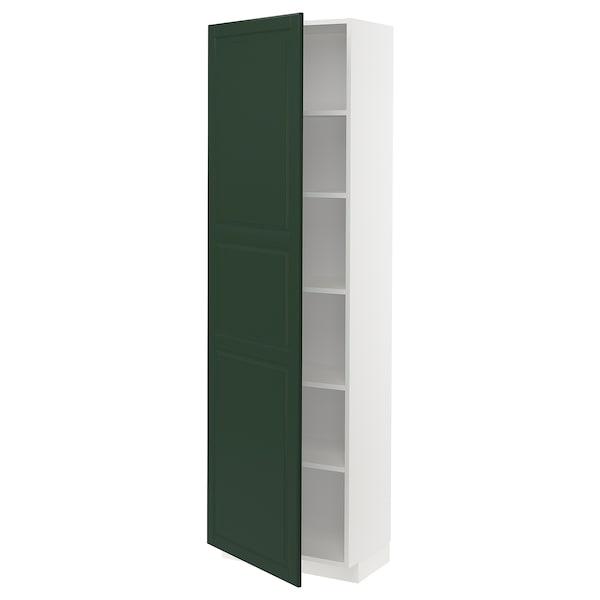 METOD High cabinet with shelves, white/Bodbyn dark green, 60x37x200 cm