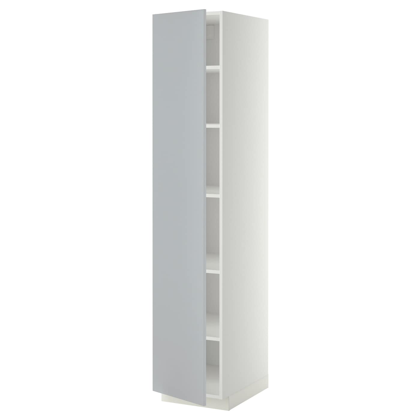METOD High cabinet with shelves White veddinge grey