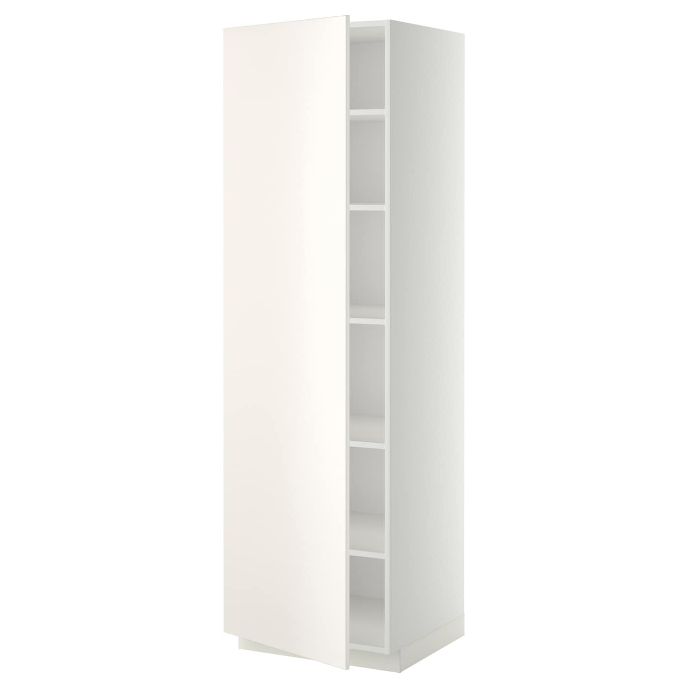 metod high cabinet with shelves white veddinge white 60x60x200 cm ikea. Black Bedroom Furniture Sets. Home Design Ideas
