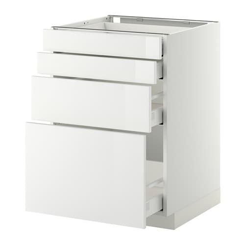 METOD/MAXIMERA Base cab 4 fronts/2 low/2 md drwrs IKEA The drawers close slowly, quietly and softly thanks to the built-in dampers.