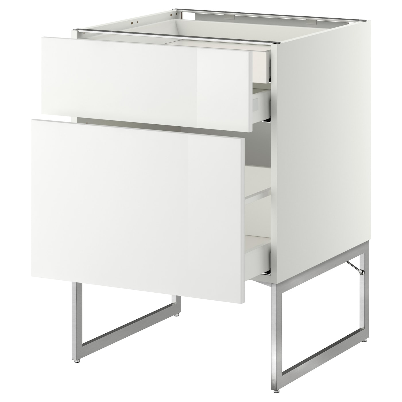 IKEA METOD/MAXIMERA base cab 2 frnts/2 low/1 hi drwr Smooth-running drawers with stop.