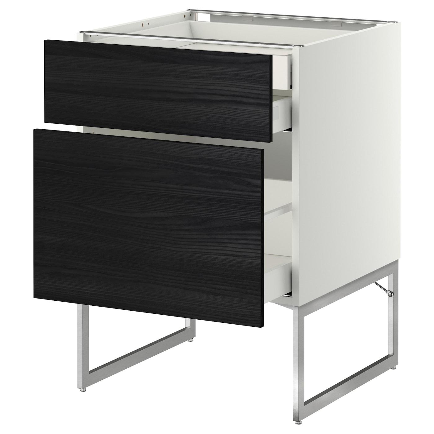 metod maximera base cab 2 frnts 2 low 1 hi drwr white tingsryd black 60x60x60 cm ikea. Black Bedroom Furniture Sets. Home Design Ideas