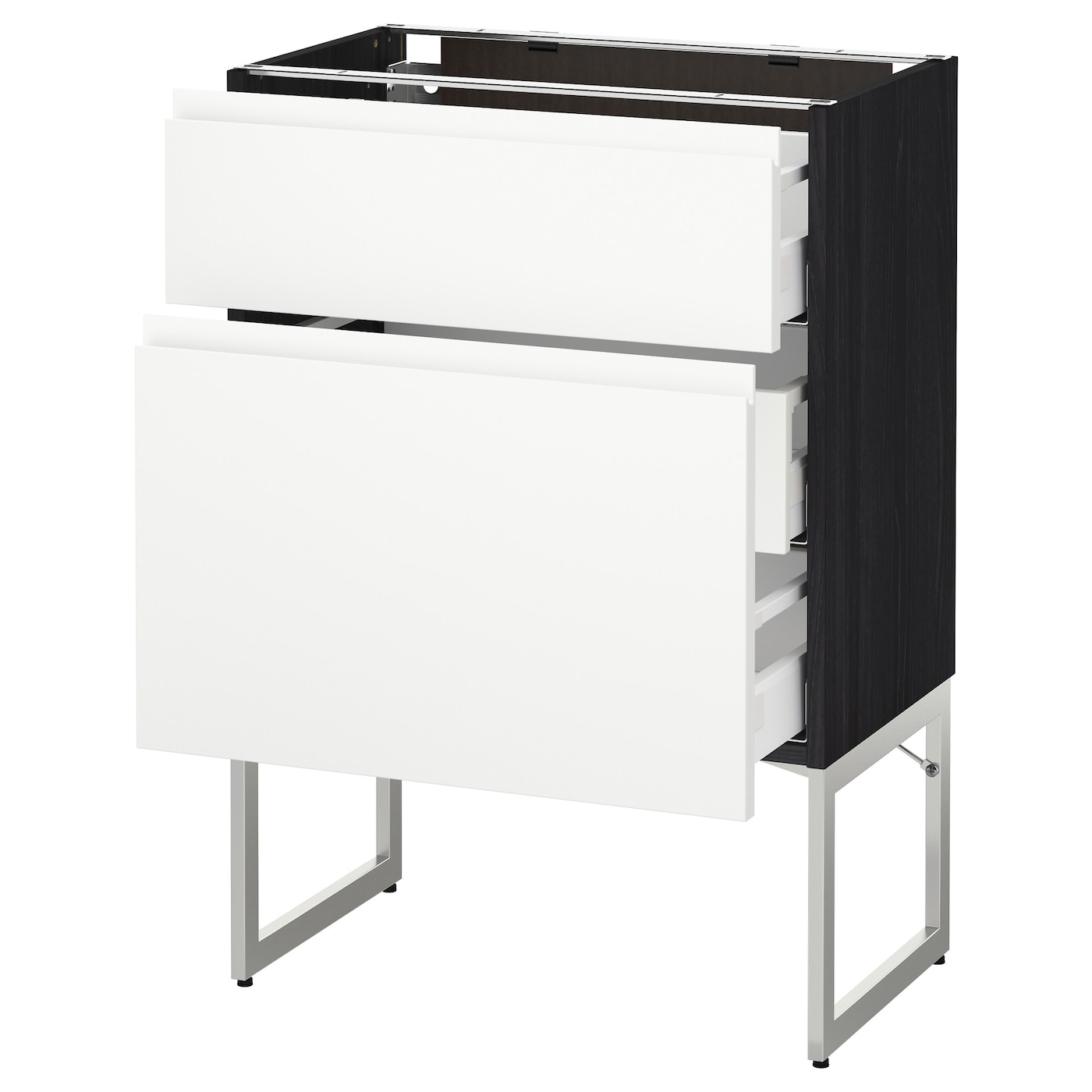 IKEA METOD/MAXIMERA base cab 2 fronts/3 medium drawrs Smooth-running drawers with stop.