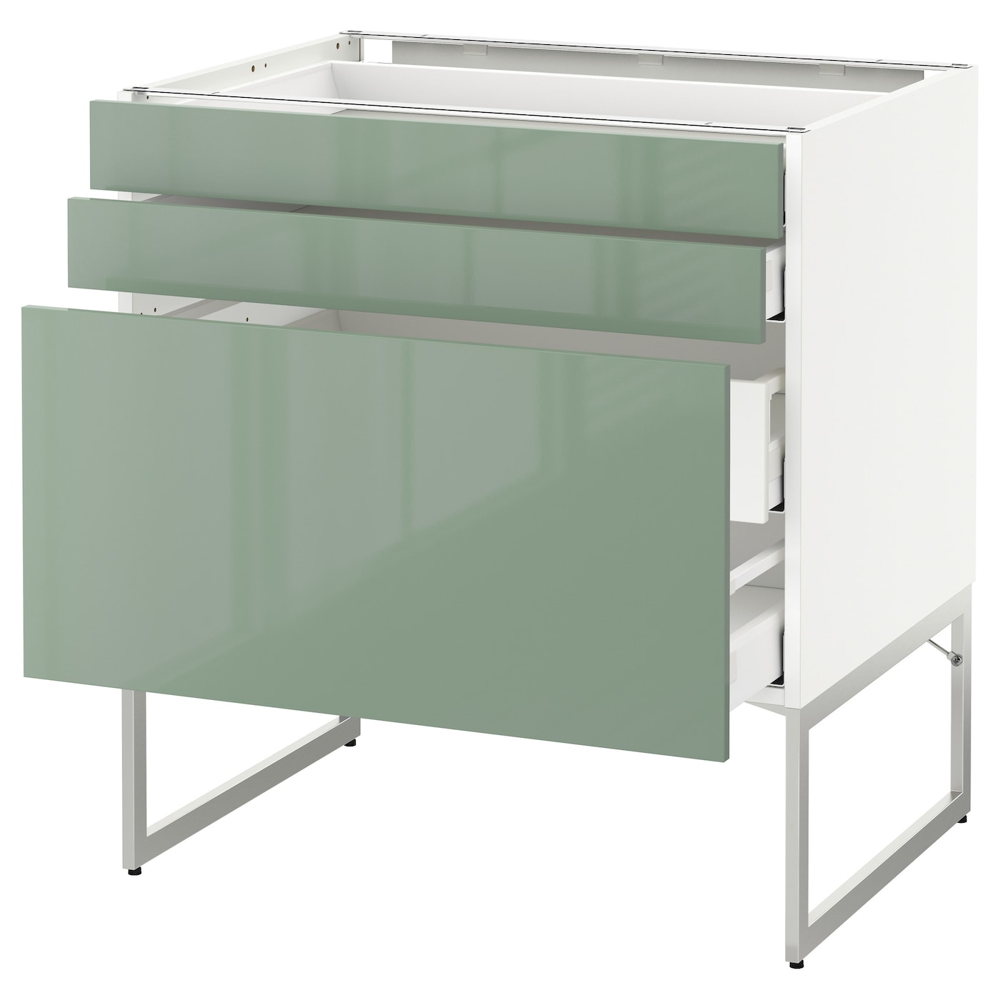 IKEA METOD/MAXIMERA base cab 3 fronts/2 low/2 med drwrs Smooth-running drawers with stop.