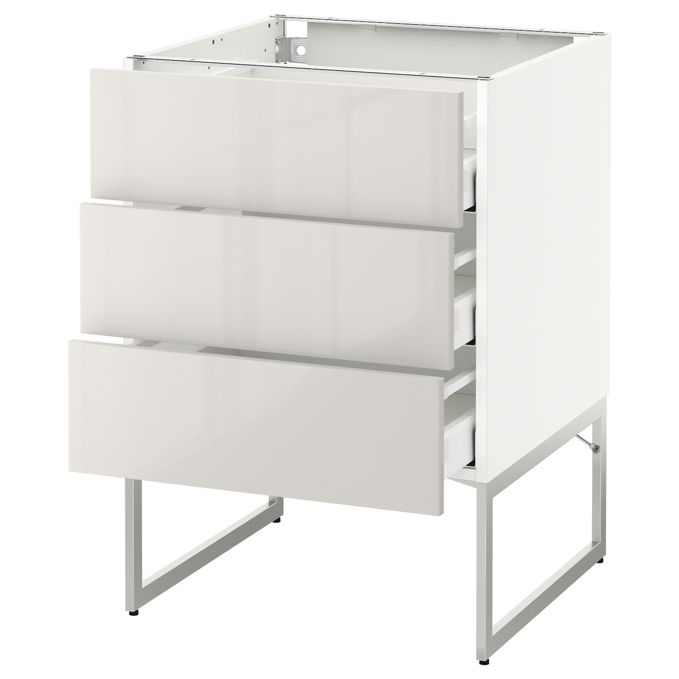 IKEA METOD/MAXIMERA base cab 3 fronts/3 medium drawers Smooth-running drawers with stop.