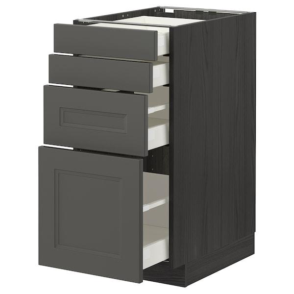 METOD / MAXIMERA Base cab 4 frnts/4 drawers, black/Axstad dark grey, 40x60 cm