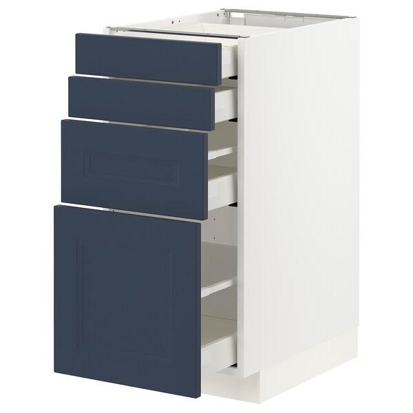 METOD / MAXIMERA Base cab 4 frnts/4 drawers, white Axstad/matt blue, 40x60 cm