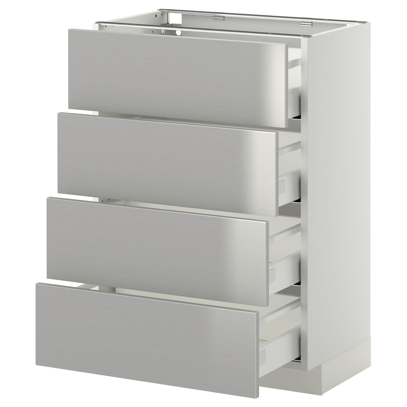 Metod maximera base cab 4 frnts 4 drawers white grevsta for Stainless steel kitchen base cabinets