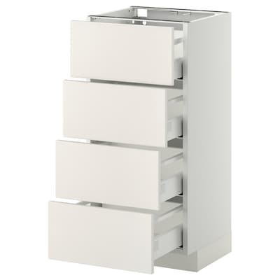 METOD / MAXIMERA Base cab 4 frnts/4 drawers, white/Veddinge white, 40x37 cm