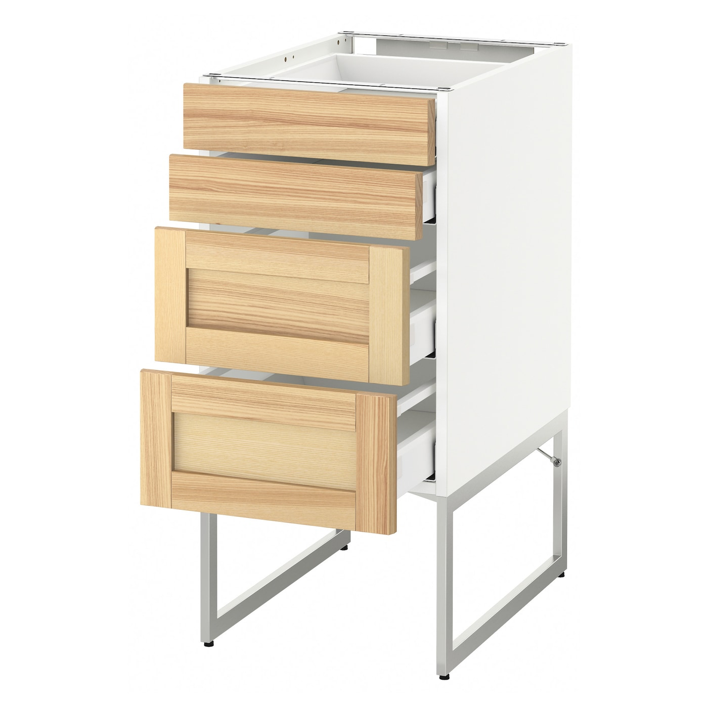 IKEA METOD/MAXIMERA base cab 4 fronts/2 low/2 md drwrs Smooth-running drawers with stop.
