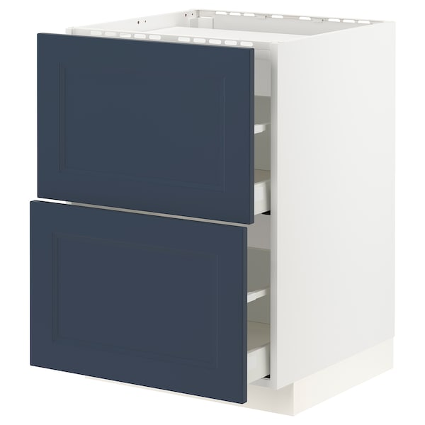 METOD / MAXIMERA Base cab f hob/2 fronts/2 drawers, white Axstad/matt blue, 60x60 cm