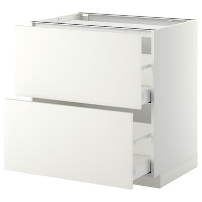 METOD / MAXIMERA base cab f hob/2 fronts/2 drawers white/Häggeby white 80.0 cm 61.6 cm 88.0 cm 60.0 cm 80.0 cm
