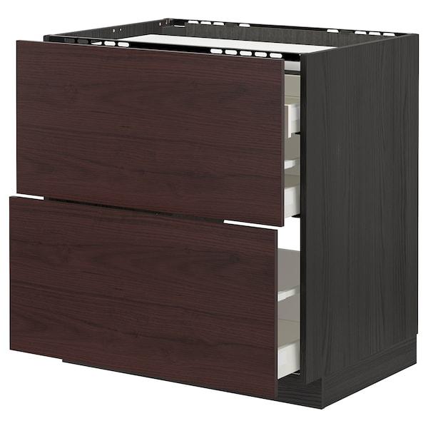 METOD / MAXIMERA Base cab f hob/2 fronts/3 drawers, black Askersund/dark brown ash effect, 80x60 cm