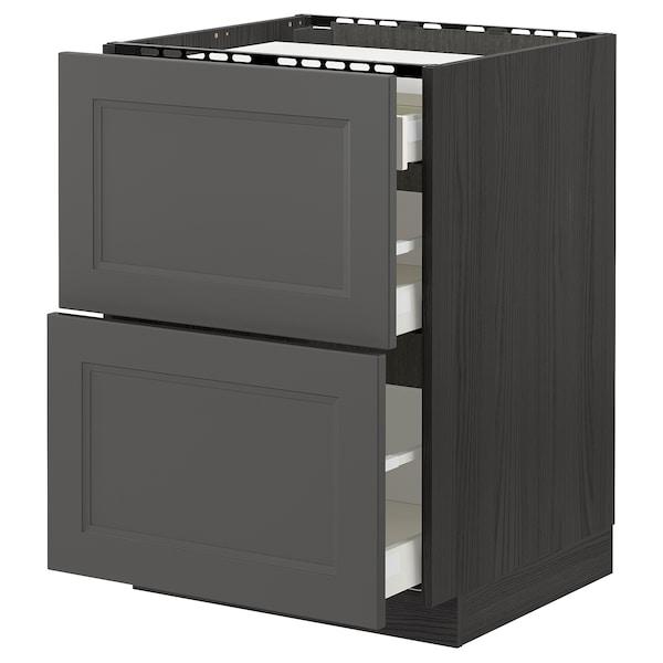 METOD / MAXIMERA Base cab f hob/2 fronts/3 drawers, black/Axstad dark grey, 60x60 cm