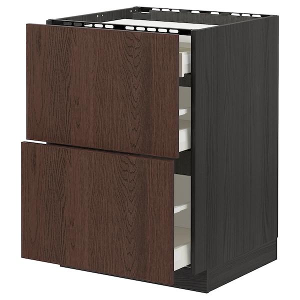 METOD / MAXIMERA Base cab f hob/2 fronts/3 drawers, black/Sinarp brown, 60x60 cm