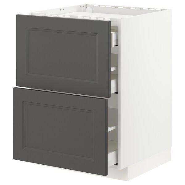 METOD / MAXIMERA Base cab f hob/2 fronts/3 drawers, white/Axstad dark grey, 60x60 cm