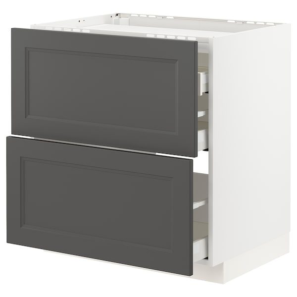 METOD / MAXIMERA Base cab f hob/2 fronts/3 drawers, white/Axstad dark grey, 80x60 cm