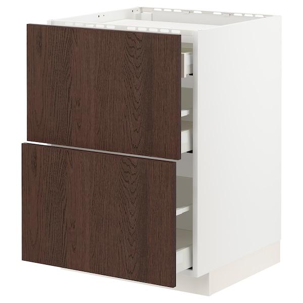 METOD / MAXIMERA Base cab f hob/2 fronts/3 drawers, white/Sinarp brown, 60x60 cm