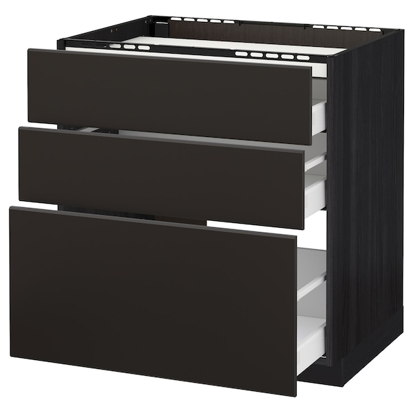 METOD / MAXIMERA Base cab f hob/3 fronts/3 drawers, black/Kungsbacka anthracite, 80x60 cm