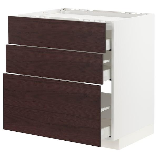 METOD / MAXIMERA Base cab f hob/3 fronts/3 drawers, white Askersund/dark brown ash effect, 80x60 cm