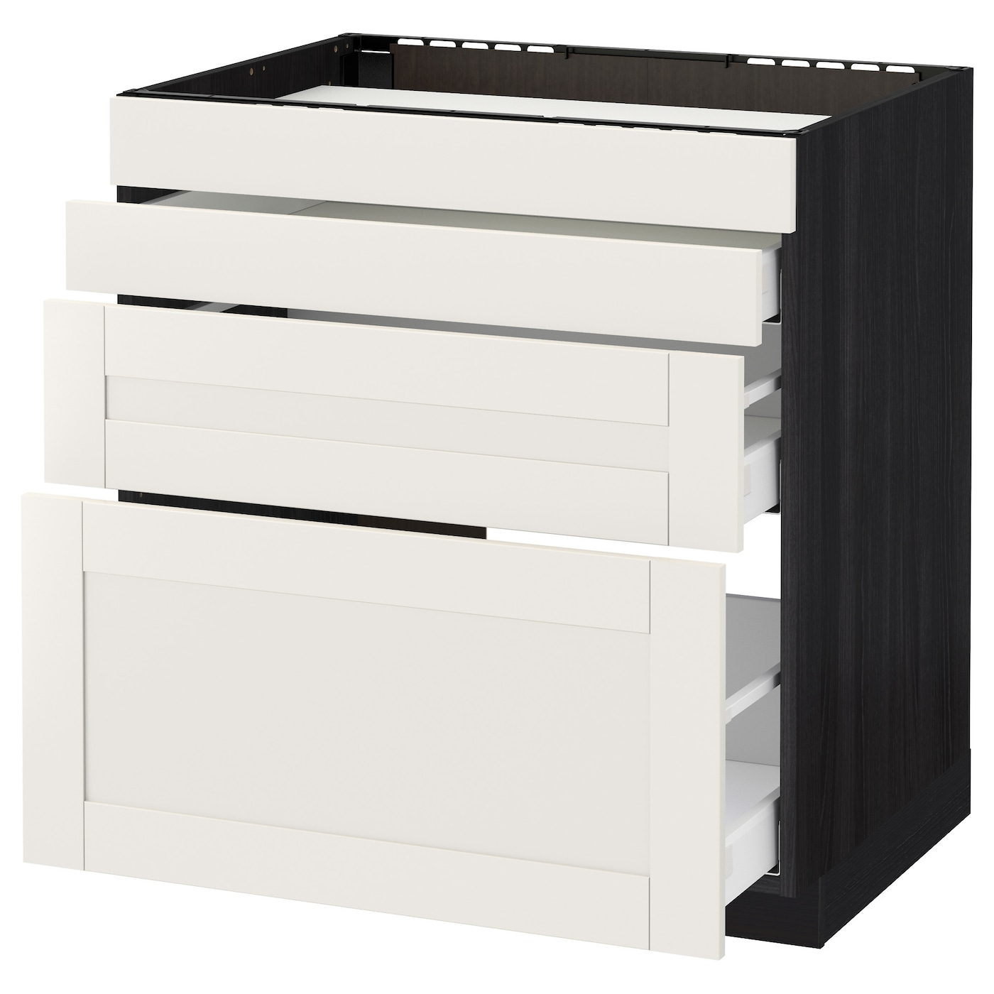 IKEA METOD/MAXIMERA base cab f hob/4 fronts/3 drawers Smooth-running drawers with stop.