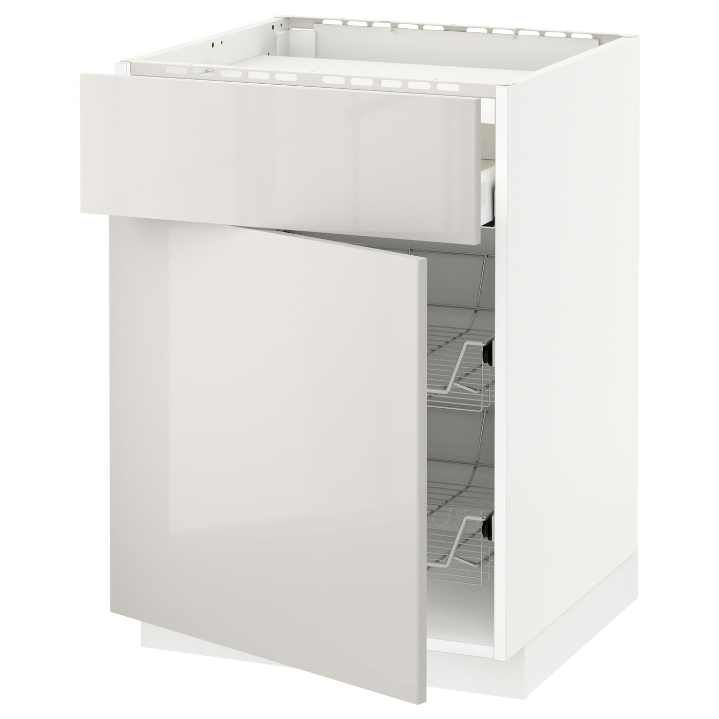 IKEA METOD/MAXIMERA base cab f hob/drawer/2 wire bskts Smooth-running drawers with stop.