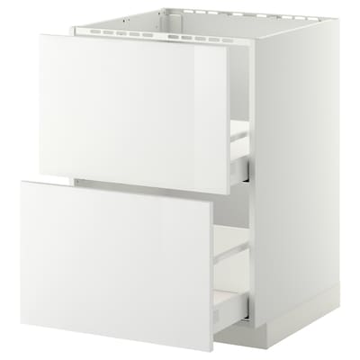 METOD / MAXIMERA Base cab f sink+2 fronts/2 drawers, white/Ringhult white, 60x60 cm