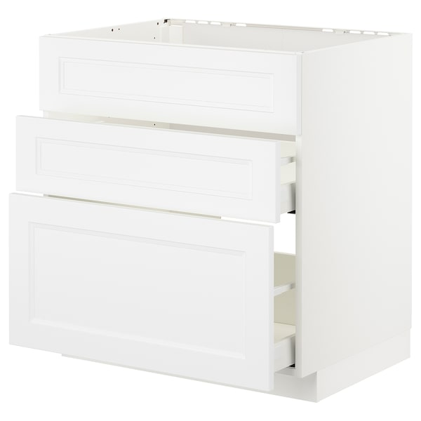 METOD / MAXIMERA Base cab f sink+3 fronts/2 drawers, white/Axstad matt white, 80x60 cm