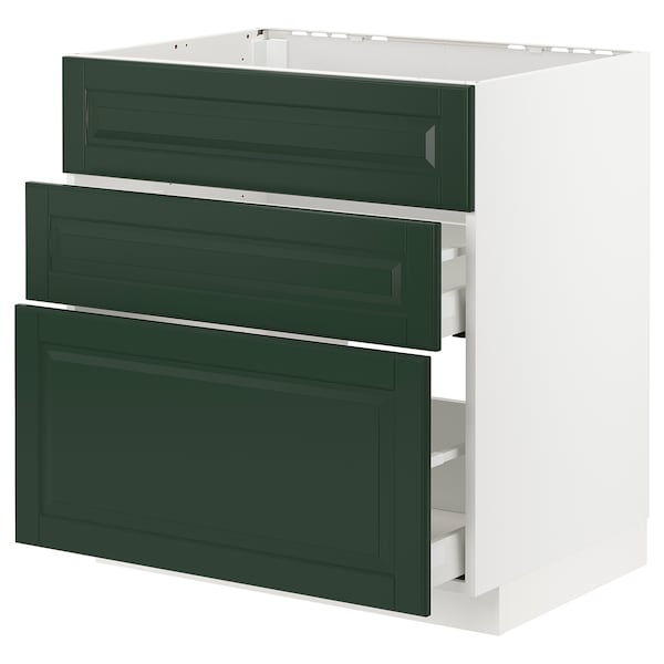 METOD / MAXIMERA Base cab f sink+3 fronts/2 drawers, white/Bodbyn dark green, 80x60 cm