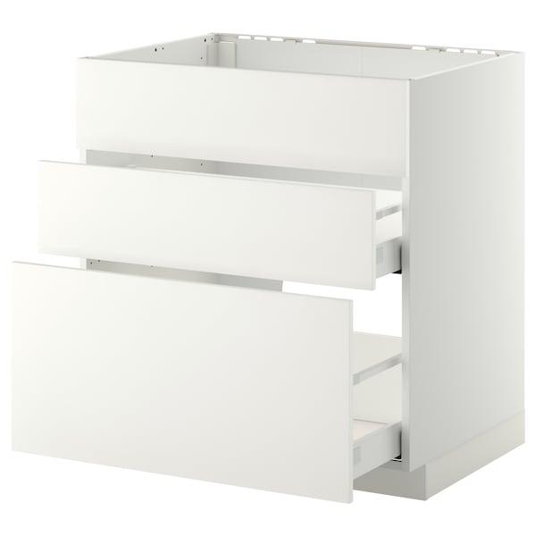 METOD / MAXIMERA Base cab f sink+3 fronts/2 drawers, white/Häggeby white, 80x60 cm