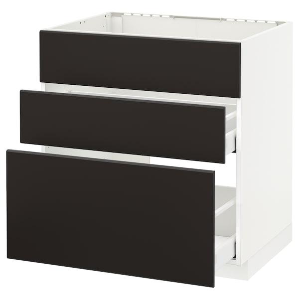 METOD / MAXIMERA Base cab f sink+3 fronts/2 drawers, white/Kungsbacka anthracite, 80x60 cm