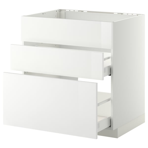 METOD / MAXIMERA Base cab f sink+3 fronts/2 drawers, white/Ringhult white, 80x60 cm