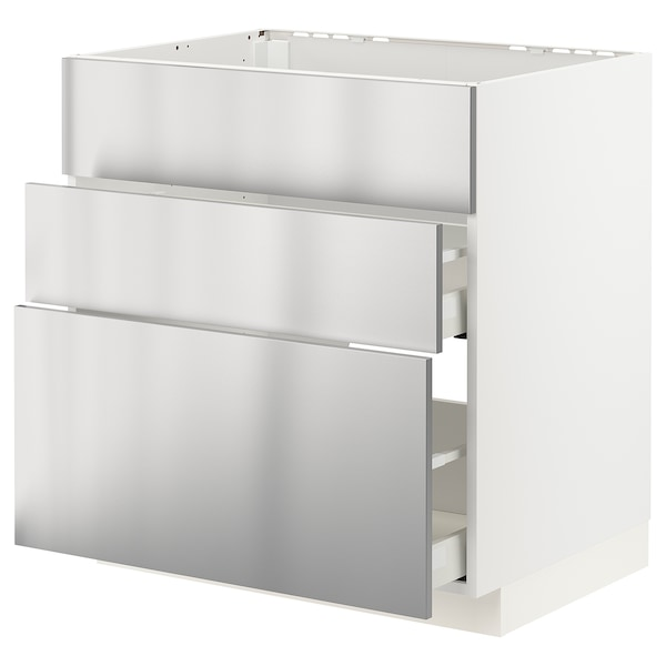 METOD / MAXIMERA Base cab f sink+3 fronts/2 drawers, white/Vårsta stainless steel, 80x60 cm