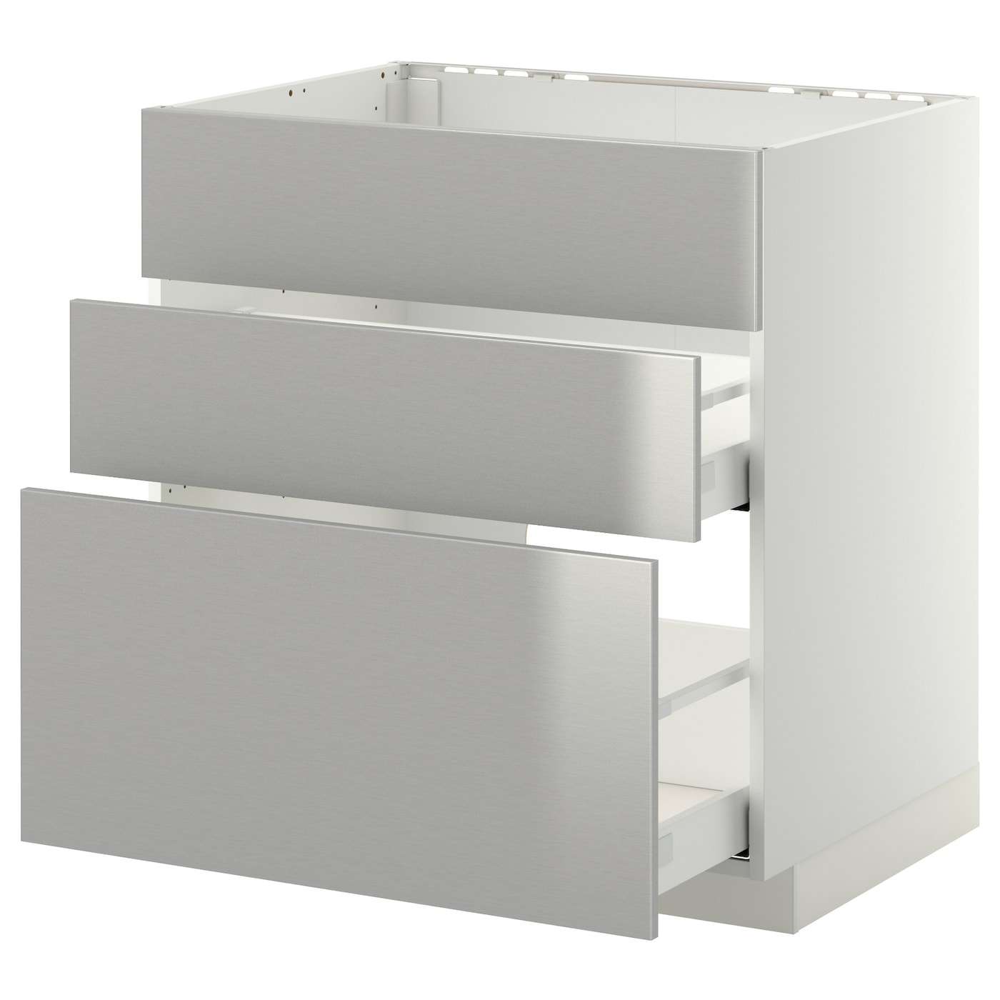 Metod maximera base cab f sink 3 fronts 2 drawers white for Stainless steel drawers kitchen