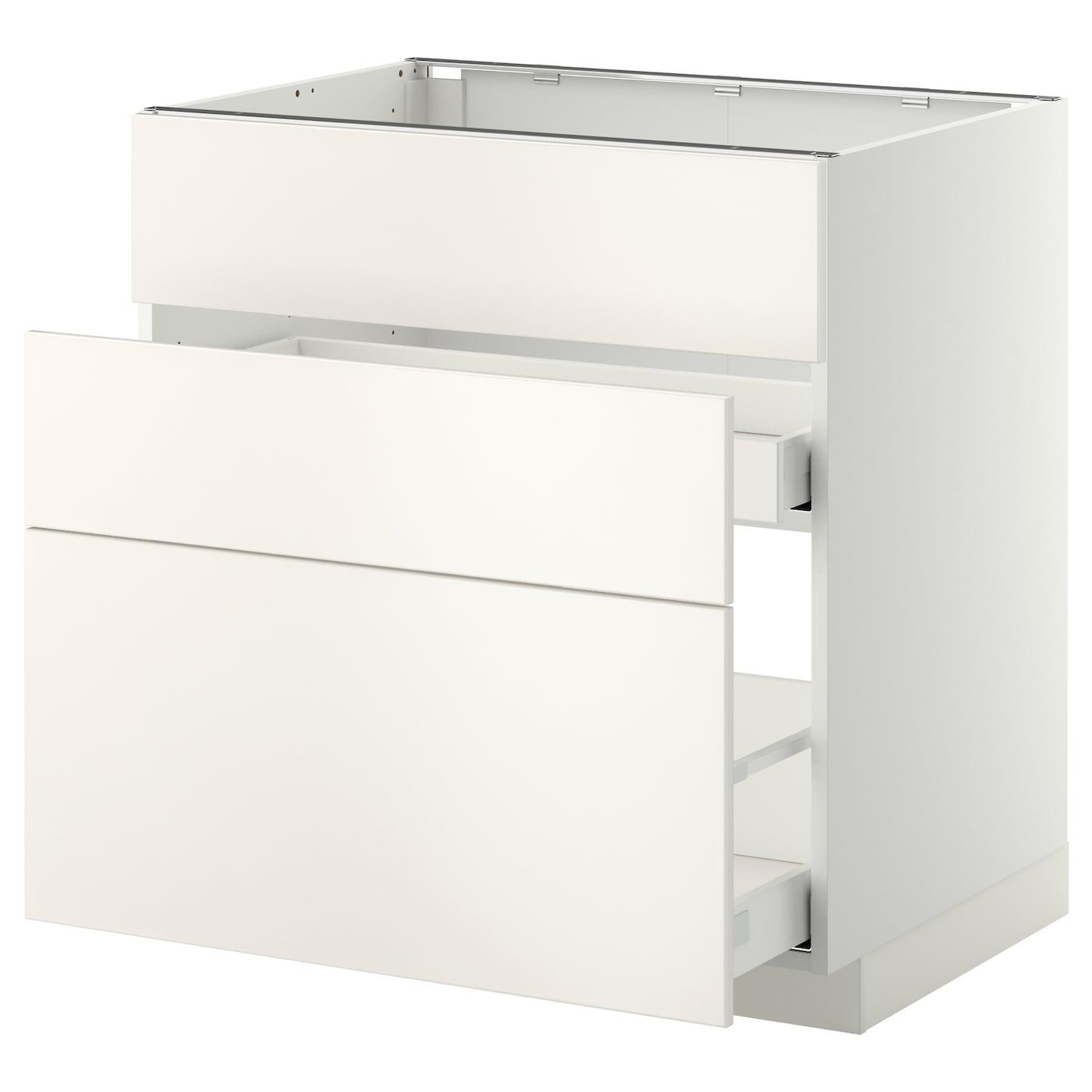 Ikea Kitchen Veddinge White: METOD/MAXIMERA Base Cab F Sink+3 Fronts/2 Drawers White