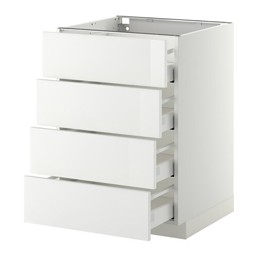 METOD / MAXIMERA Base cab 4 frnts/4 drawers IKEA The drawers close slowly, quietly and softly thanks to the built-in dampers.