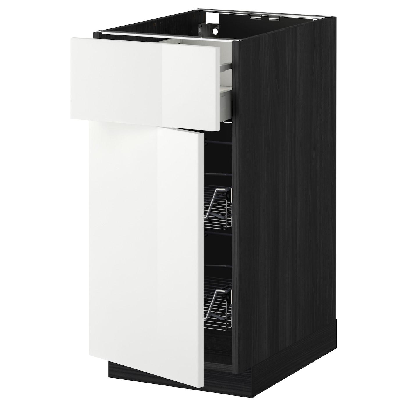 Metod maximera base cab w wire basket drawer door black for Basket for kitchen cabinets