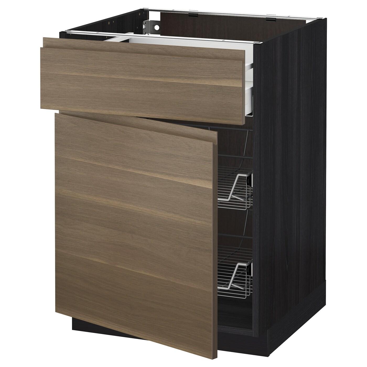 Metod maximera base cab w wire basket drawer door black for Ikea basket drawers