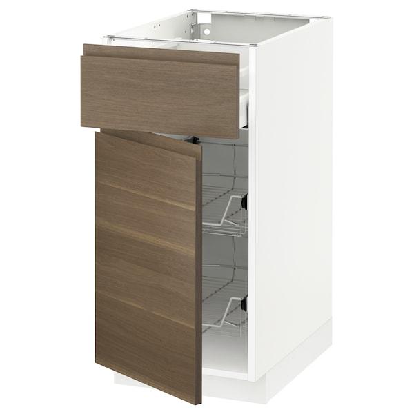 METOD / MAXIMERA Base cab w wire basket/drawer/door, white/Voxtorp walnut effect, 40x60 cm