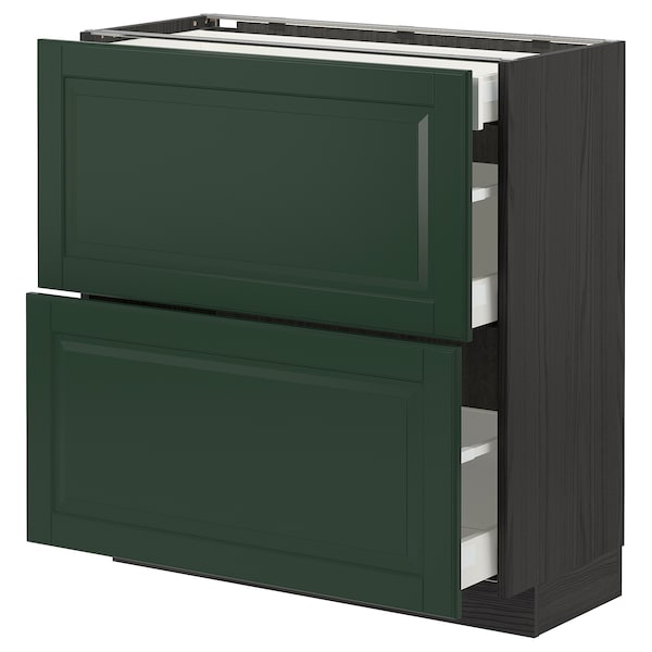 METOD / MAXIMERA Base cab with 2 fronts/3 drawers, black/Bodbyn dark green, 80x37 cm