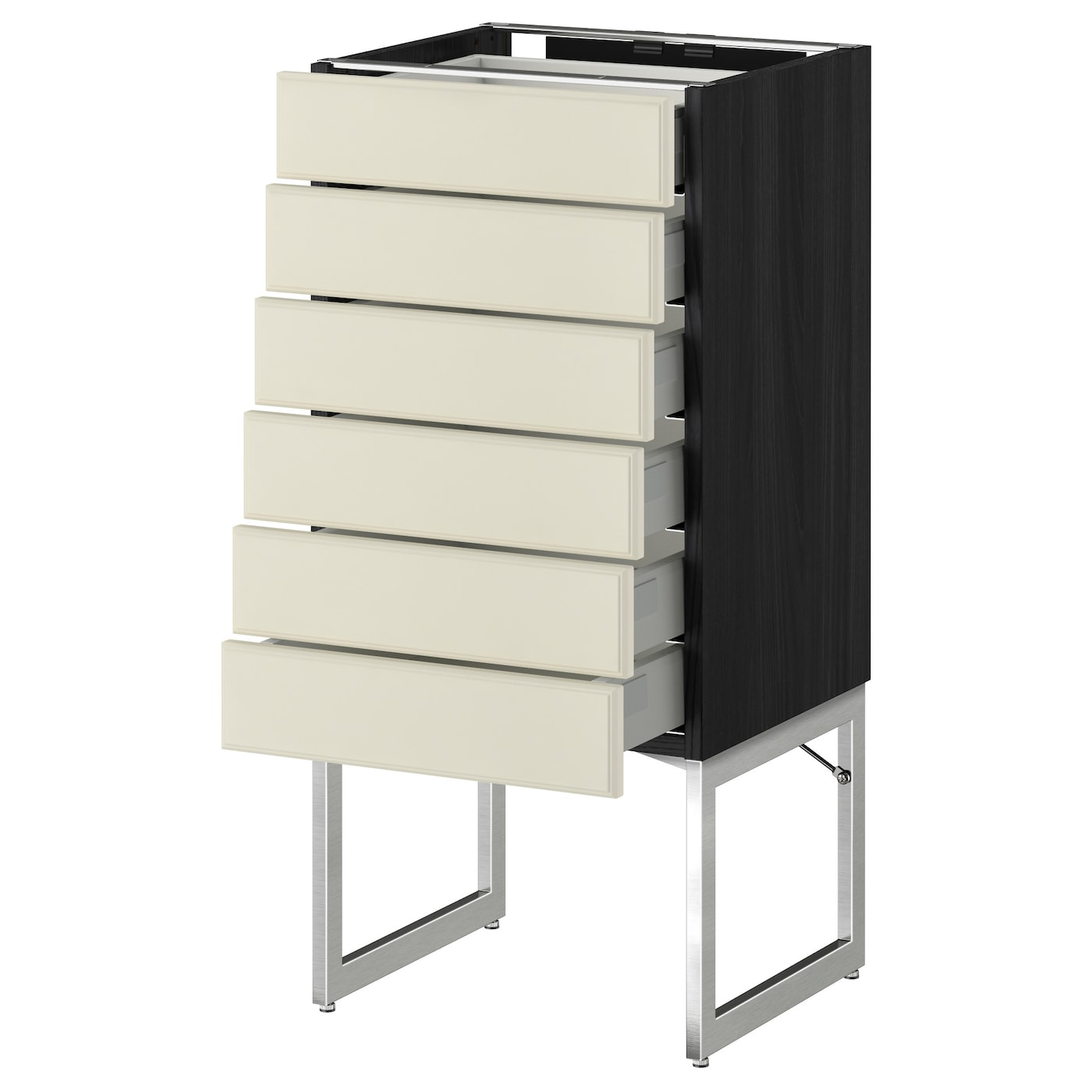 Metod Maximera Base Cabinet 6 Fronts 6 Low Drawers Black Bodbyn Off White 40x37x60 Cm Ikea