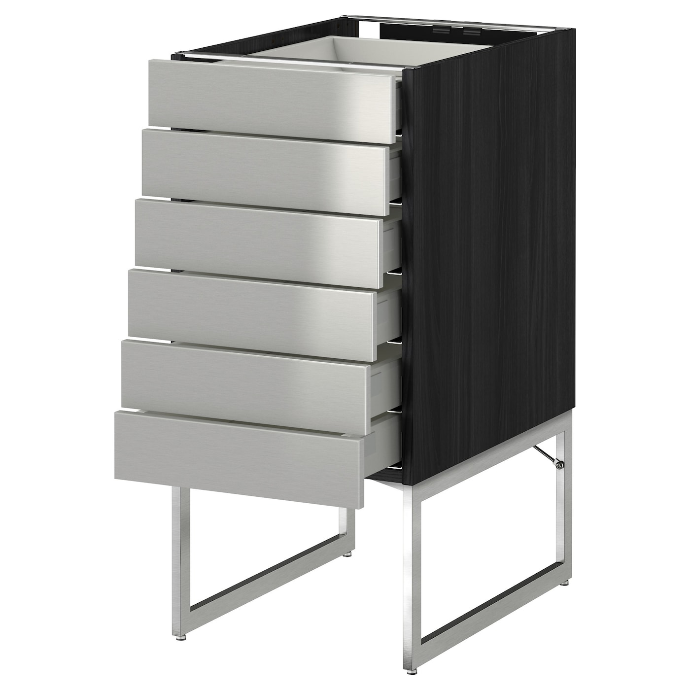 Metod Maximera Base Cabinet 6 Fronts 6 Low Drawers Black Grevsta Stainless Steel 40x60x60 Cm Ikea