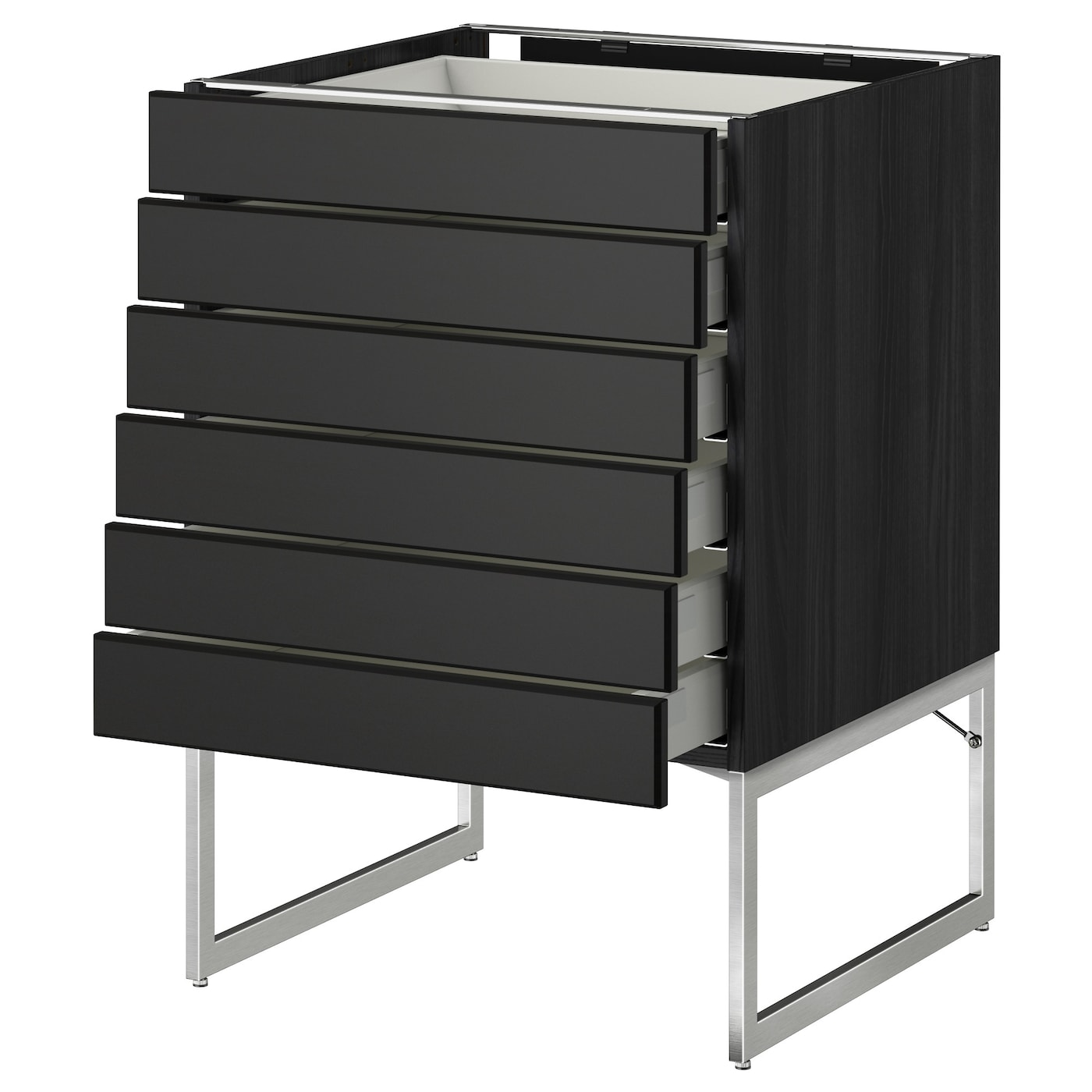 metod maximera base cabinet 6 fronts 6 low drawers black laxarby black brown 60x60x60 cm ikea. Black Bedroom Furniture Sets. Home Design Ideas