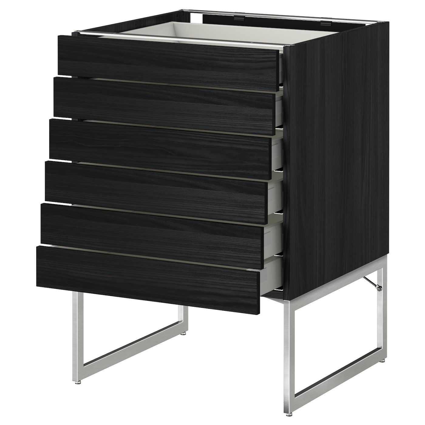 Metod maximera base cabinet 6 fronts 6 low drawers black for Black kitchen base cabinets
