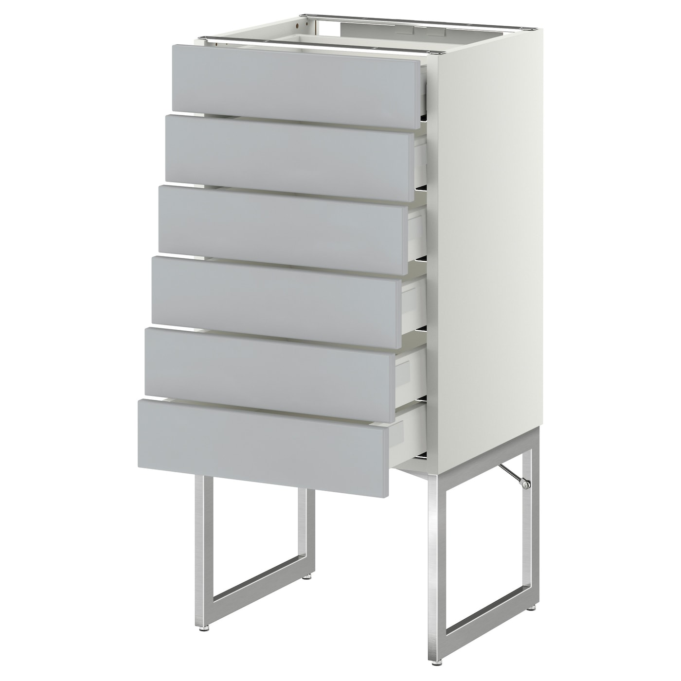 Metod Maximera Base Cabinet 6 Fronts 6 Low Drawers White Veddinge Grey 40x37x60 Cm Ikea